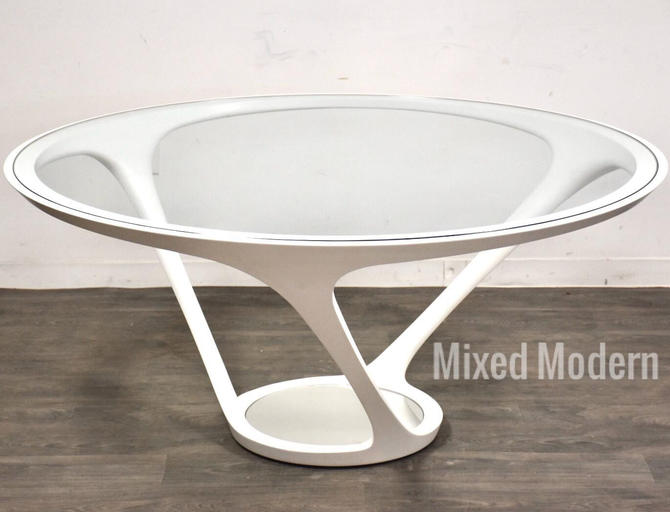 Roche Bobois Round Glass & Steel Dining Table by mixedmodern1