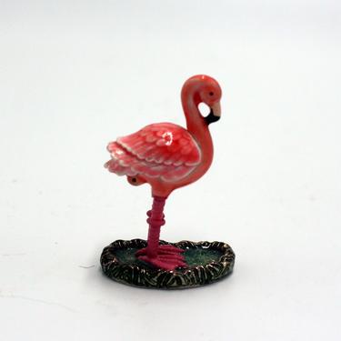 vintage tiny flamingo pill box or trinket box/pink enamel/monet by suesuegonzalas