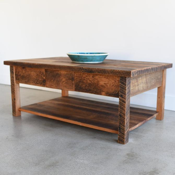 Reclaimed Patchwork Wood Coffee Table / Lower Shelf + Hidden Drawer by wwmake