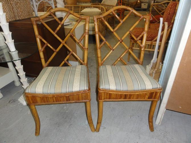 Pair of Bamboo Chippendale Chairs