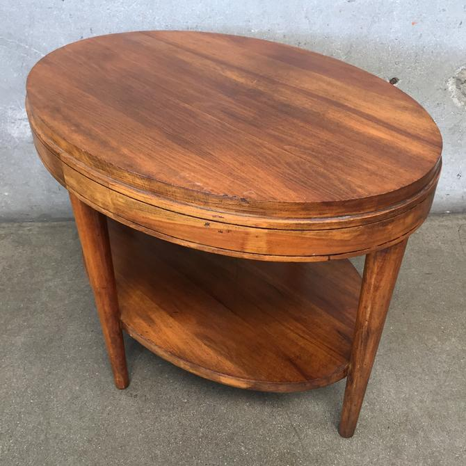 Mid Century Oval Wood Two Tier Table