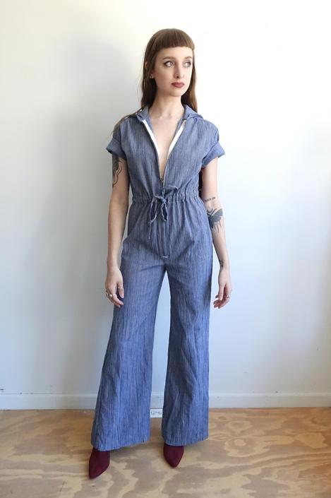 51de55dd5cf Vintage 70s Denim Bell Bottom Jumpsuit 1970s Zip Up Striped Blue ...