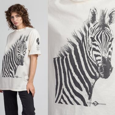 90s Burchell's Zebra Graphic T Shirt - Men's Medium   Vintage Unisex African Safari Animal Tee by FlyingAppleVintage