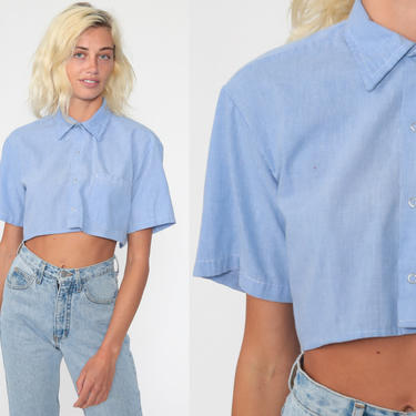 Blue Crop Top 70s Shirt Plain Blouse Chambray Collared Button Up Shirt 1970s Long Sleeve Retro Vintage Cropped Shirt Small Medium by ShopExile