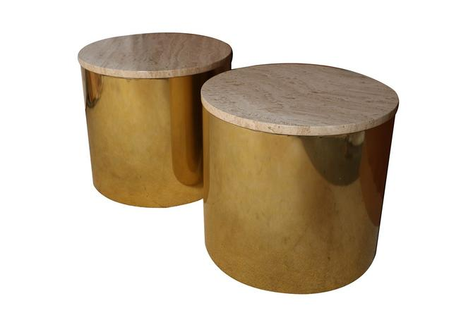 Paul Mayen Mid Century Pair Brass Round Side Drum Tables Travertine Top by Marykaysfurniture