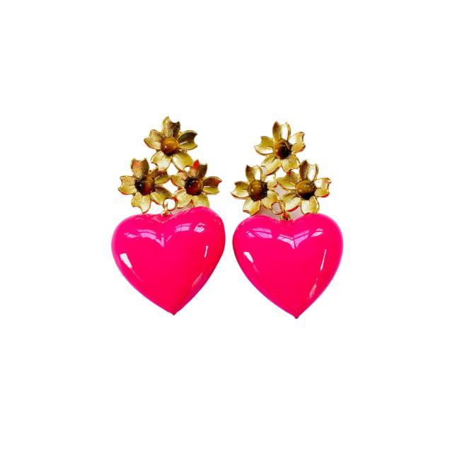 The Pink Reef short golden floral fuchsia heart
