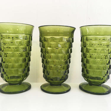 Vintage Iced Tea Glasses Set of Three (3) Indiana Glass Whitehall Pattern Olive Green Avocado Highball Glasses 1960s Pedestal by CheckEngineVintage
