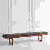 Norwegian Teak Bench with Upholstered Cushion By BRUKSBO