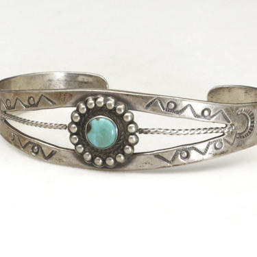 Vintage Navajo Turquoise Sterling Silver Cuff Bracelet Stamped Details Rope by HouseofVintageOnline
