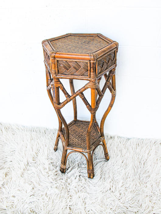 Vintage Woven Rattan and Bamboo Table/Plant Stand by PortlandRevibe