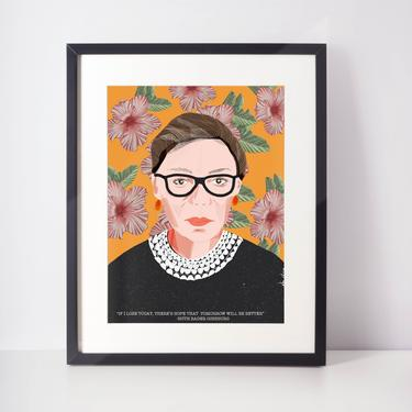 Ruth Bader Ginsburg  RBG  DC fearless women  Flower Power Celebrity Portraits  cubicle decor by VioletredStudio