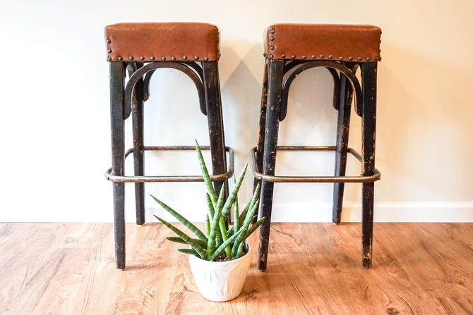 Set of 2 Industrial Metal and Wood Base Stools with Brown Nagahide Seats (Sold as a set) by PortlandRevibe