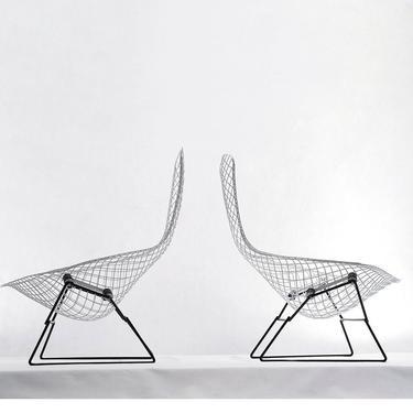 Pair Vintage Harry Bertoia Knoll Bird Chairs 1950s by 20cModern
