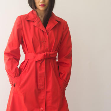 1970s Halston Red Cotton Trench Coat by waywardcollection
