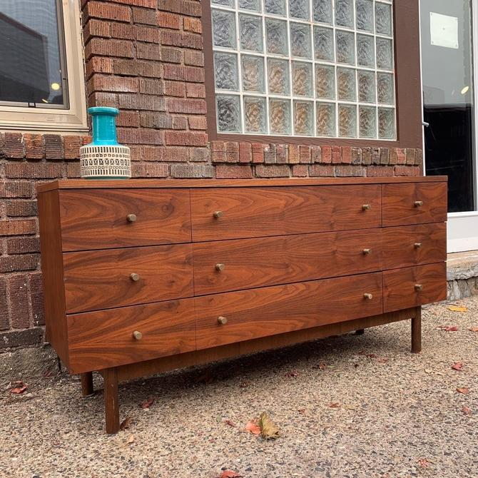 Refinished Mid-Century Lowboy Dresser w/ 9 Drawers