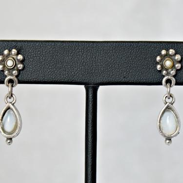 80's sterling blue flash moonstone seed pearl floral hippie dangles, 925 silver teardrop gemstone pearl center flowers boho earrings, *PA by BetseysBeauties