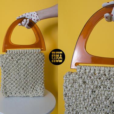 Vintage 70s Beige Macrame Crochet Handbag Hippie Purse Bag with Amber Plastic Top Handle by RETMOD