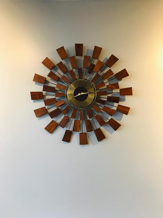 Mid Century Seth Thomas Grandeur Sunburst Wall Clock by UrbanInteriorsBalt