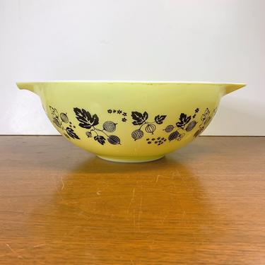 Vintage Pyrex Gooseberry Black on Yellow Cinderella Mixing Bowl 444 by OverTheYearsFinds