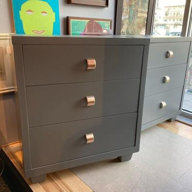 """Gray painted 3 drawer chest. 2 available 30.5"""" x 19"""" x 33.5"""" Pulls are amazing."""