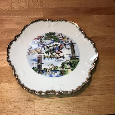 1950s Florida flamingo travel souvenir decorative Gold Leaf plate platter by RadioRadioVintage