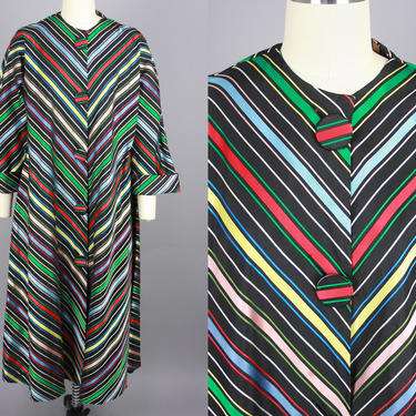 1950s Striped Swing Coat | Vintage 50s 60s Multicolor Taffeta Cocktail Jacket | medium by RelicVintageSF