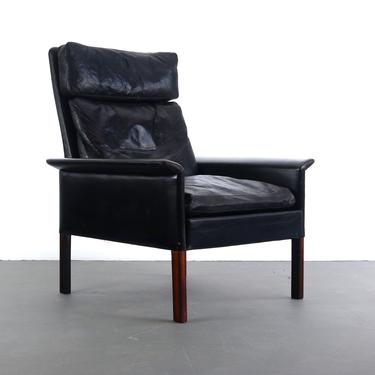 Rosewood and Vintage Black Leather Lounge Chair by Hans Olsen for CS Møbler by ABTModern
