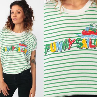 Kawaii Tshirt FUNNY SAILING Shirt Baby Duck Tee Shirt 80s Graphic Tee Nautical Sailor Bird Vintage Green Striped Slouchy Retro Small by ShopExile