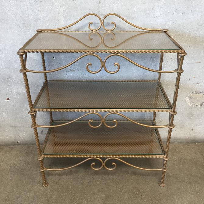 3 Tier Iron Shelf With Rope Detail & Glass Inserts