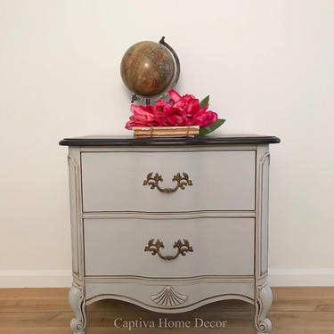 Vintage French Provincial End Table, Curvy Nightstand,  Hand painted Neutral Gray, Dark Brown Top, Gold accents, Glazed by CaptivaHomeDecor