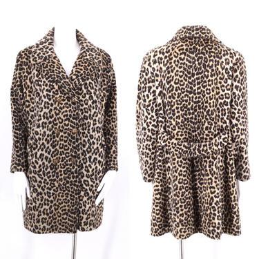 60s vintage leopard print faux fur coat M  / vintage sash back cheetah plush fur coat 1960s 50s size M by ritualvintage