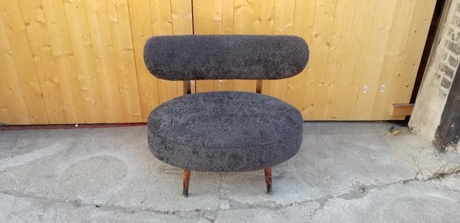 Vintage Dark Grey Sheep-Wool Upholstered Otto Schultz Attributed Modernist Lounge