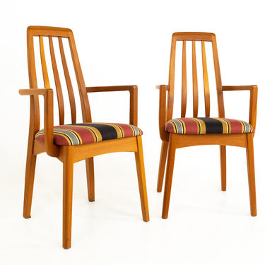 Niels Koefoed for Hornslet Eva Style Mid Century Teak Captains Dining Chairs - Pair - mcm by ModernHill