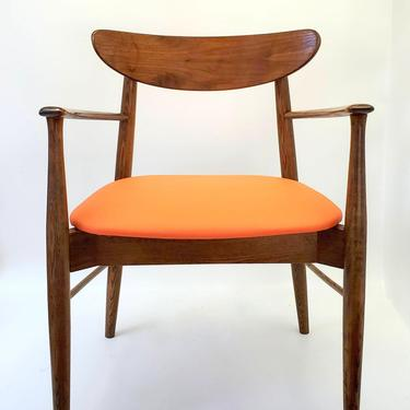 Mid Century Modern Lane Walnut Office Desk Chair Orange Vinyl Cushioned Seat Bentwood Back Rest Dining Chair Teak Color Side Chair Entryway by MakingMidCenturyMod