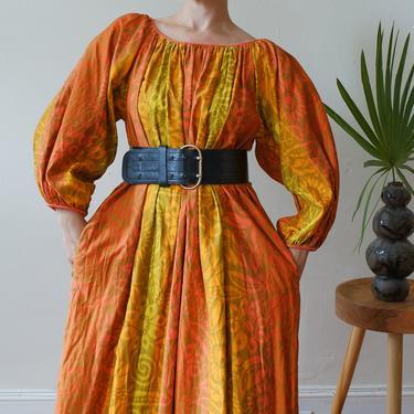 Vintage 60s 70s Hawaiian Sunset Balloon Sleeve Maxi Dress/ 1970s Orange Yellow Kaftan Dress/ Size Large XL by bottleofbread