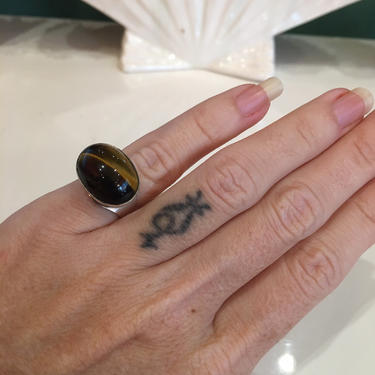 Sterling silver ring, tigers eye ring, statement ring, vintage ring, size 5, 925, chunky ring, boho style by BlackLabelVintageWA