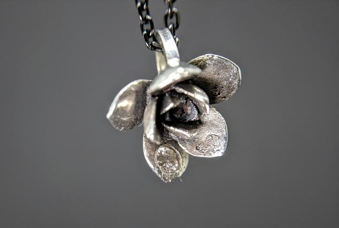 Silver Cast Succulent Pendant with Diamond (READY TO SHIP) by EmilyMarquisDesigns