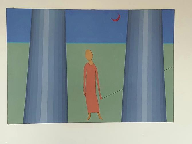 Original Painting Girl Without a Face In Coral Dress by ModandOzzie