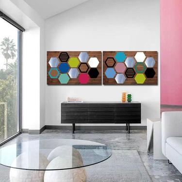 Modern Art, Wood Wall Art, Geometric Wall Art, Modern Home Decor, Large Metal Wall Art, Panel Art, Bedroom Wall Decor, Living Room Wall Art by LauraAshleyWoodArt