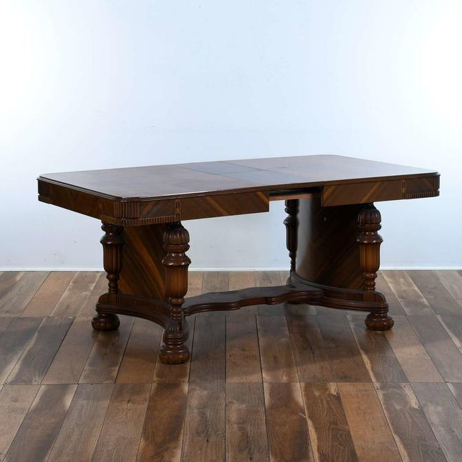 Edwardian Contrast Marquetry Trestle Dining Table