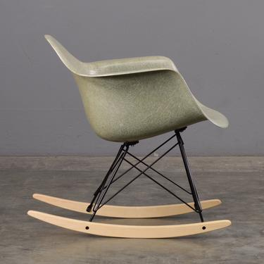 1950s Eames Shell Chair with Rocker Base Sea Foam Green and Maple by MadsenModern