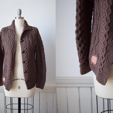 Vintage Mocha Brown Wool Cable Knit Cardigan | 1970s/1980s Irish Wool Aran Knit Cardigan Sweater | Fisherman Style | M by wemcgee