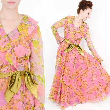 70s Pink Floral Print Evening Dress   Watercolor Print Long Sleeve Summer Maxi Dress   California Calliope   Medium by GlennasVintageShop