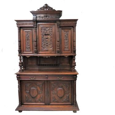 Amazing Antique English Cartouche Carved Medallion Front Hunt Cabinet by PickeryPlace