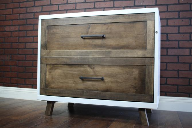 """Metal Cabinet Wood Face 30"""", 36"""" or 42"""" wide 2 drawer / Bedside / credenza / Cabinet Rustic / Nightstand / console / Repurposed Dresser by TheRusticForest"""