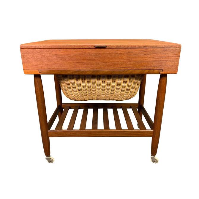 Vintage Danish Mid Century Modern Teak Sewing Cart by Ejvind Johansson by AymerickModern