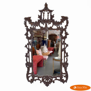 Brown Chippendale Pagoda Mirror