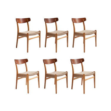 Hans J. Wegner Ch-23 Dining Chairs, Set of 6, Denmark 1960s by TheModernFind