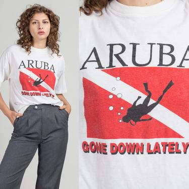 """80s Aruba """"Gone Down Lately?"""" Scuba Diver T Shirt - Extra Large   Vintage Caribbean Graphic Tourist Tee by FlyingAppleVintage"""