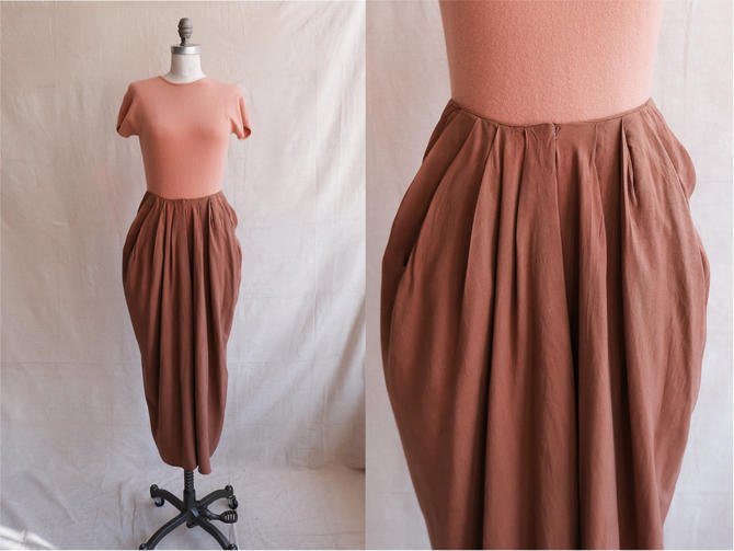 Vintage 80s Donna Karan Chestnut Silk Draped Skirt/ 1980s Black Label High Waisted Pleated Skirt with Pockets/ Size 28 by bottleofbread